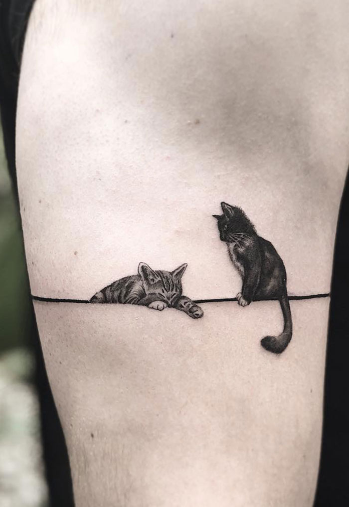 tatuaż z kotem